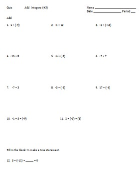 7.NS.1 Addition of Integers, 3 Quizzes