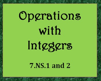 7.NS.1 and 2 Operations with Integers Practice