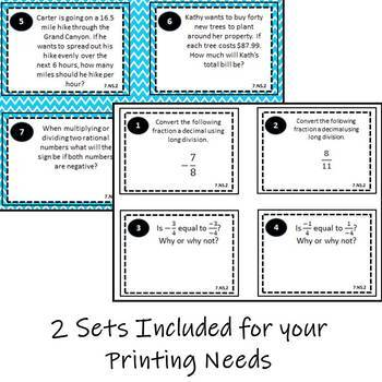 7.NS.2 Task Cards, Multiplying & Dividing Rational Numbers Task Cards