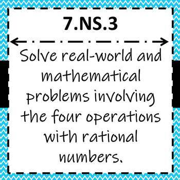7.NS.3 Task Cards, Adding,Subtracting,Multiplying,Dividing with Rational Numbers