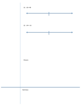 7.NS.A.1 Cornell Guided Notes- Adding positive and negative integers-number line