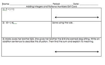 7.NS Adding Integers