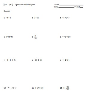 7.NS Operations with Integers, 2 Quizzes