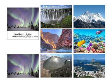 7 Natural Wonders of the World - 3 Part Cards