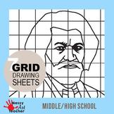 7 Pack Black History Month Grid Drawing Worksheet for Middle/High Grades