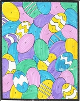 7 Page Easter Color By Number, Eggs, Easter Bunny, Basket, Jelly Beans, Chicks