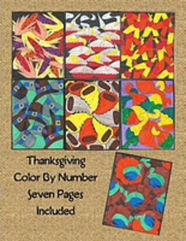 7 Pg Thanksgiving Color By Number: Turkey, Pilgrim Hats, Indian Corn, Cornucopia