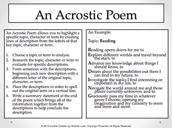 7 Poem Templates or Direction Cards for ANY Class for Reading, Analysis, More!