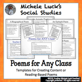 7 Poem Templates or Direction Cards for ANY Class for Read