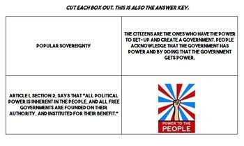 7 Principles of Government Venn Diagram Matching