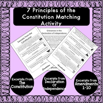 7 Principles of the Constitution Sorting Activity