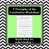 7 Principles of the Constitution Worksheets