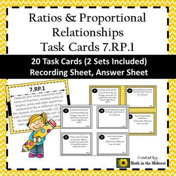 7.RP.1 Task Cards, 7th Grade Math Ratios & Proportional Relationships