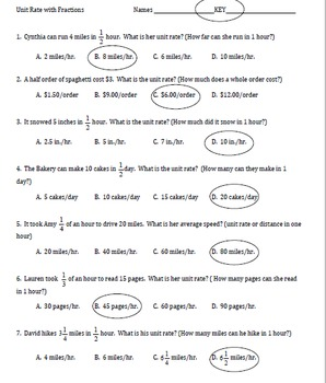 7.RP.1 Unit Rate with Fractions Worksheet