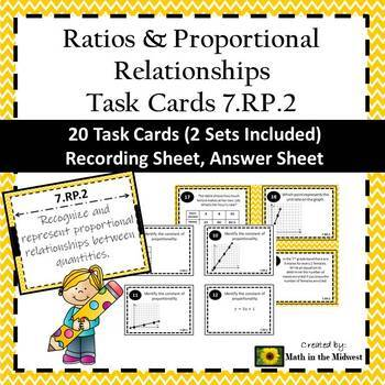 7.RP.2 Task Cards, Proportional Relationships Task Cards