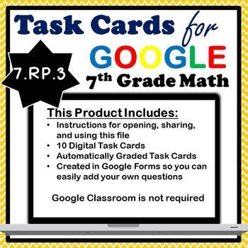 7.RP.3 Digital Task Cards, Multi-Step Ratio & Percent Problems Google Task Cards
