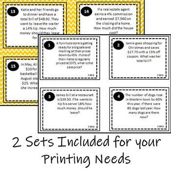 7.RP.3 Task Cards, 7th Grade Math Ratio & Proportional Relationships Task Cards