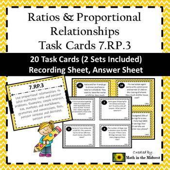 7.RP.3 Task Cards, Multi-Step Ratio & Percent Problems Task Cards
