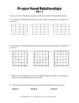 7.RP.A.2 Intro to Proportional Relationships Activity