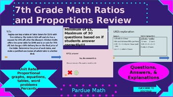 7.RP Review Computer Activity with Leveled Questions & Explanations! (Editable)