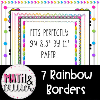 7 Rainbow Borders with Transparent and Filled Backgrounds
