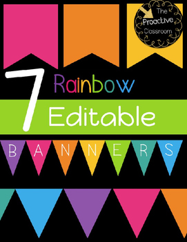 7 Rainbow Editable Banners