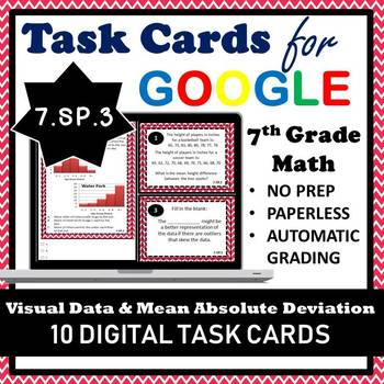7.SP.3 Digital Task Cards, Visual Data Overlap & Mean Absolute Deviation