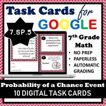 7.SP.5 Digital Task Cards, Probability of a Chance Event Google Task Cards