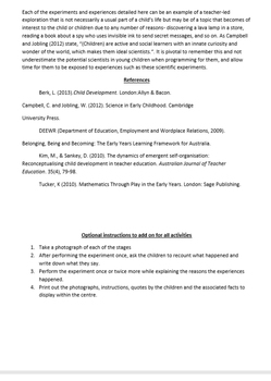 Activities: 7 Science Pre K- 6th Grade- instructions, posters and rationale