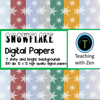 7 Shiny Snowflake pattern digital papers Christmas Winter Holiday