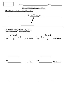 7) Solving Multi Step Equations Guided Notes Pages (to Accompany PPT Lesson)