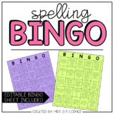 Spelling BINGO Sheets - Spelling Menu ( for ELA centers or