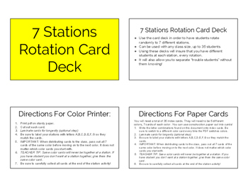 7 Station Rotation Card Deck