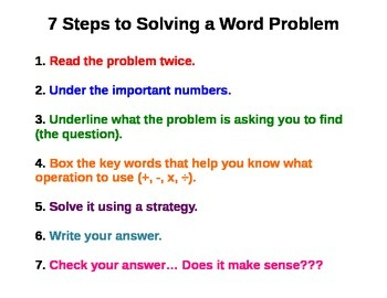 7 Steps for Solving Word Problems -