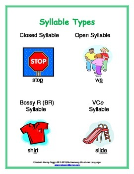 7 Syllable Types Graphic Organizer