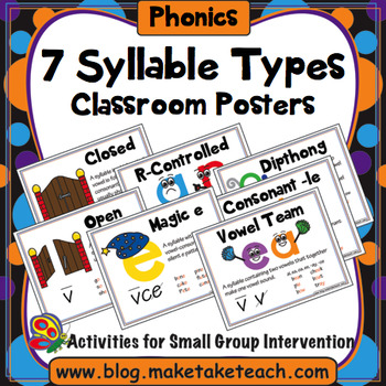 7 Syllable Types Classroom Posters Set