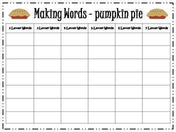 7 Thanksgiving Making Words Activities