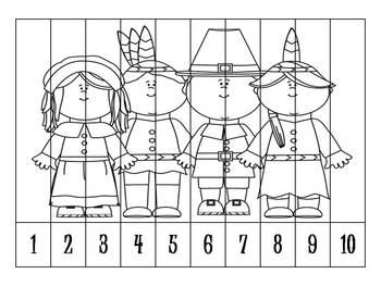 7 Thanksgiving Number Order Puzzles B&W {FREEBIE}