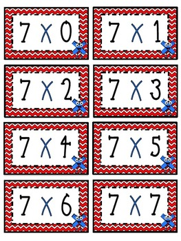 """""""7"""" Times Table Flash Cards"""