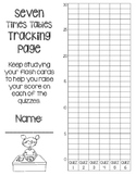 7 Times Tables Multiplication Fluency- 6 Quizzes with Self-Monitoring Graph