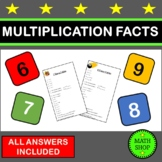 Math - Times Tables Tests (6, 7, 8 and 9 times tables) - M