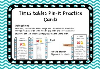 Times Tables Pin-It Cards: 2 Times Tables
