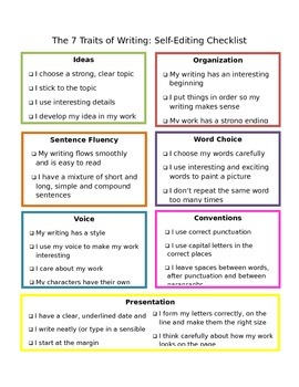7 Traits of Writing Checklist