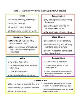 7 Traits of Writing Checklist
