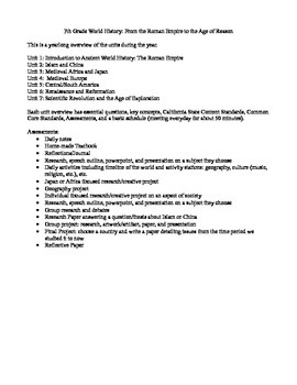 7 Unit Plans for the Year: 7th Grade World History with Common Core Standards