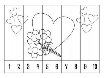 7 Valentines Number Puzzles B&W {FREEBIE}