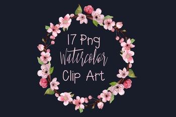 7 Watercolor Cherry Blossom Clip Art - Wreath - Border