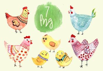 7 Watercolor Hens Clip Art