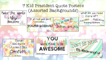 7 Watercolor Growth Mindset Posters & 7 Kid President Quote Posters