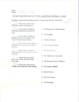 7 Wonders of the Ancient World Note-Taking Sheet, Quiz, and Answer Sheet